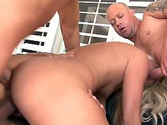 Blonde slut enjoys hard cocks fucking her braisn out in wild gang bang session
