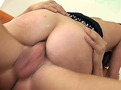Indian bombshell Missy Stone willingly takes in the ass in front of the camera