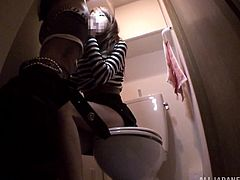 Gorgeous Japanese girl lifts her skirt up and gets her pussy fingered in the toilet. After that she gives a blowjob with great pleasure in POV video.