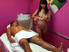 Petite cock loving asian Marica Hase with natural boobies and tight firm ass in hot pants gets naked while giving massaged to Jason and enjoys playing with his stiff pecker.