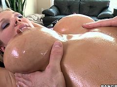 She has an attractive body with a pair of busty boobs and juicy thighs. She is lying naked and the massage's dick is getting stronger in every moment as long as he is touching this whore's body with a nice rub. Finally she has made him lucky by sucking his man meat eagerly. Will she let him fuck her?