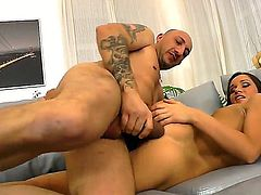 Cheep slut Irina Bruni with black nails and natural perky boobs stuffs her firm ass with huge toy while teasing Omar Galanti with meaty fat cocks and gets nailed on couch.