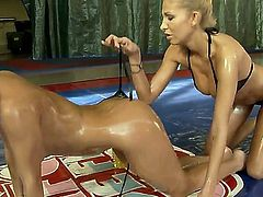 Blonde with juicy jugs has fire in her eyes as she gets her slit fingered by lesbian Clara G.