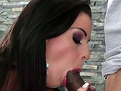 Larissa Dee takes huge ebony dong in mouth and starts sucking it like a candy. She is giving unforgettable fellatio before standing in doggie and getting holes licked.