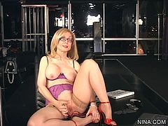 Hornyr mature loves posing her big tits and that juicy twat in solo action