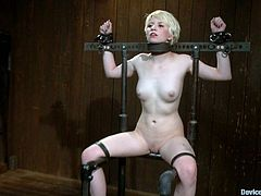 A cute blonde doesn't look so cute anymore when they shave her head while she's bound by bondage device. Check it out!