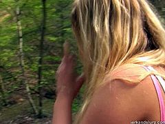 Full-bosomed blonde Zdenka gives hot blowjob to a stranger