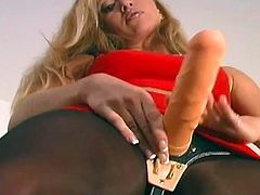 Blonde babe in black pantyhose is ready for some action along her huge strapon