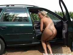 Slutty blond gal is already naked and the way too absorbed with sucking a strong dick right in the car. Why not to continue kinky action right on the lawn? Dirty-minded nympho with sweet tits and big pale ass desires to be fucked missionary to lots of pleasure.