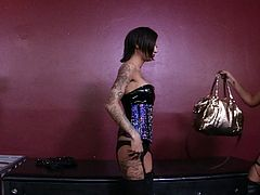 Look at this punk ass bitches, they are hot and they are mean! The smoking hot brunettes don't like to fool around when it's about fucking so after this chick finished with a guy she takes a turn with another bad ass girl. they fuck wild with pussy licking and ass slapping action. Want to watch some more?
