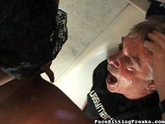 Hardcore fetish leads horny ebony into pissing all over her slave's face