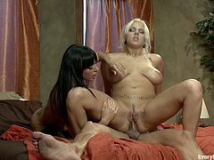 A hot big titty whore gets her asshole stuffed by a hot big titty brunette and a dude in this kinda FFM bondage threesome scene. Check it out!