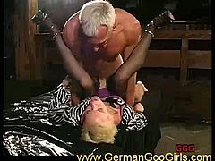 Check out this horny blonde german granny. She is ready to get her pussy fucked and then drinks cum in her horny mouth!