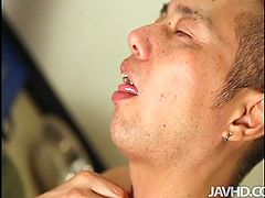 Rapacious Japanese cutie with a pair of small perky tits gets her bearded vagina tickled with sex toys in missionary and doggy styles in sultry pov sex video by Jav HD.