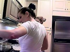 Exciting gals with great parts of bodies Cindy Hope and Sandy are taking off tops and bras before starting to cook something delicious in the kitchen! See these tasty girls!