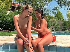 Anita and Melissa Ria were feeling temptation to have fun with each other for a long time. But they couldnt resist it only today! Now girls have lesbo fun near pool.