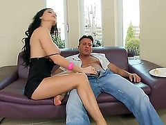 Pretty black haired bombshell Aletta Ocean with big firm hooters and long sexy legs gets her feet licked by horny dude and rides on his stiff cock in living room.