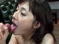 This dark-haired brunette seductress from Japan is a natural born cock sucker. She takes her lover's dick in her slutty mouth, sucks it back and forth pushing herself to the limits.