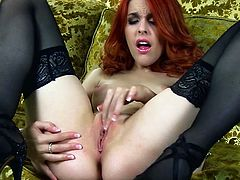 Sweet Amarna Miller enjoys getting wild and deep masturbate her wet vag in solo