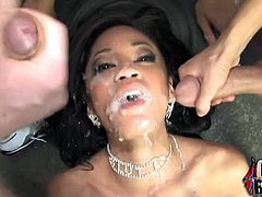 Jayla's bff,Amy, broke the news that Jayla's boyfriend had been dipping his big black cock in her white cavern. That could only mean one thing, it's time to get even and she does it by giving a white dick blowbang.