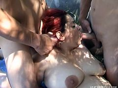 Mary is a bbw that's a very lustful whore. This chubby cunt has enough love for everybody so this time she shares it with two men. They fuck her mouth and shaved pussy really deep and she enjoys the taste of that hairy dick in her mouth while being penetrated from behind. Mary deserves some semen for that!