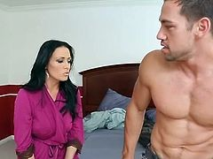 Big-Titted black haired Vanilla DeVille get laid onto Sleaze America