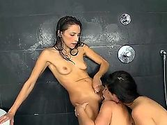 Brunette Celeste Star takes toy in her wet hole