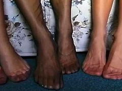 Hot babes enjoy teasing with their sexy feet while getting horny and eager