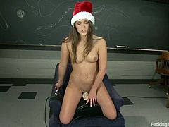 In this compilation video you will see some sexy chicks in Christmas hats sitting on a fucking machine in different settings. They get their pussies drilled intensively.