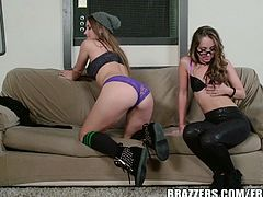 Two of the hottest teen brunettes take turns eating each other's shaved pussy and tight asshole till orgasm. Don't miss this super hot and wet lesbian scene.