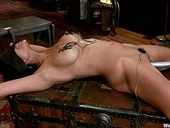 Beretta James and Sinn Sage in hot femdom scenes. Sinn Sage gets wired and then toyed deep in her vagina. Then she also gets fucked with a strap-on.