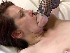 It's a tranny gangbang for Maitresse Madeline who gets to suck cock and get fucked by a girl who is fucked at the same time!