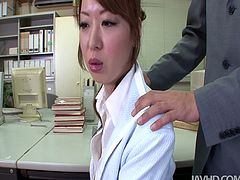 Fuckable Japanese office manager Misato Sakurai gets seduced by kinky boss