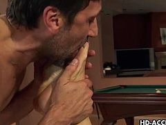 Horny slut is fucked by huge cock,Watch this sexy milf and she knows what she wants.She gets it as well as she takes his fat cock deep in her throat before she gets it hard in her tight mature pussy and tigh asshole.Enjoy this awesome video.