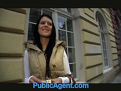 Amateur brunette chick Rebecca gets discovered walking the street and convinced with a fist full of cash to go with this public agent and fuck him for the money, which she does, reluctantly.