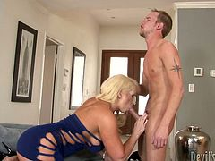 This is provocative mother in law who is a big slut indeed. She seduces the guy for hardcore sex. So watch blond woman sucking dripping dick deepthroat.