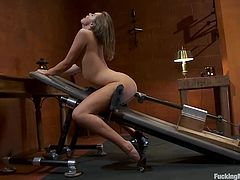 Amazingly hot chick takes her dress off and fondles her vagina. After that she gets her wet pussy toyed deep and hard by the fucking machine.