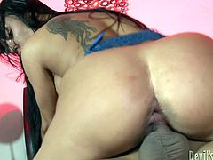 Gorgeous brunette MILF with killer curves and massive tits gets brutally railed doggystyle. She gets on top and takes that well hung cock for a pussy ride.