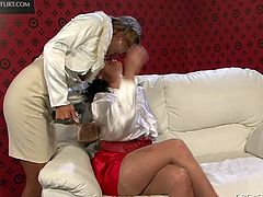 Two arousing milfs make out on the queen size bed wearing steamy lingerie and pantyhose. They rip each other's pantyhose on pussy area to fuck it with a huge dildo in sizzling hot lesbian sex video by Tainster.