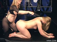 Nina Hartley loves to play and dominate younger Sunny Lane during sexy femdom porn