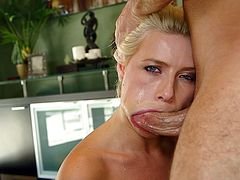 She's as beautiful as she is slutty and nothing makes my darling happier then a hard dick in her mouth. I grab her by that blonde hair, fuck her mouth roughly and go deep in her throat. The sight of her pretty face, those pink innocent lips and my penis filling her makes me want to cum and give her a mouthful!