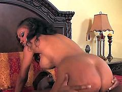 Busty ebony Lacey Duvalle enjoys riding and feeling huge dick banging her shaved cunt