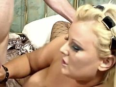 See the busty and perverse blonde plumper Samantha 38G flaunting her huge natural boobs and hot ass while dresses in black fishnet stockings and high hells. Then she's ready for her clam to be banged balls deep into heaven.