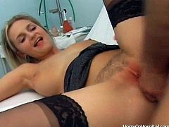 A horny-ass fucking blonde bitch gets a hard fucking in this kinky hardcore fucking at the hospital. She gets her pink snatch fucked by the doc!