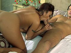 Asian hottie Kaylani Lei enjoys true pleasure along hunk with big cock