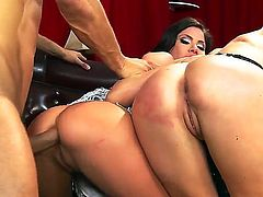 Whorish black haired and black milfs Aleksa Nicole and Courtney Taylor with big fake tits and round firm bums get banged hard in amazing threesome with young buck Danny Mountain.
