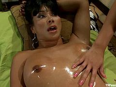 Katie Summers gets her snatch pounded by bosomy shemale Vaniity