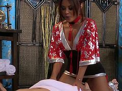 Check out Kaylani Lei giving a big dicked dude a super relaxing massage! He was already horny and sticked his instrument in her tight asian pussy!