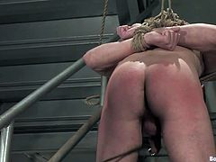 Catch a glimpse of this gay bondage video where two horny guys have fun torturing and pleasing one another.