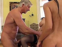 Abbie Cat and Natasha Brill are horny bitches who are about to get fucked really hard by this old man